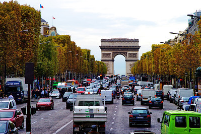 The Champs Elysee and the Arc de Triomph