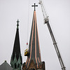 Work on the steeple at St. Michael's Church on Clinton Avenue in Rochester.