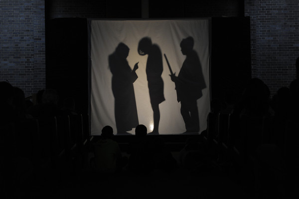 Living Stations of the Cross done in silhouette by teen youth group members at Church of the Resurrection in Fairport.