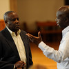 Theologian, author, and speaker Father Emmanuel Katongole talks about his native Uganda during an April 8 lecture at Nazareth College.