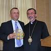Deacon James M. Kalustian and His Eminence Archbishop Khajag Barsamian, Primate.