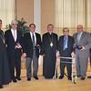 His Eminence Archbishop Khajag Barsamian, Primate, with, (from left to right), Fr. Vasken A. Kouzouian, Thomas Stephanian, David DerVartanian, Gerald Ajemian, Ara Hollisian, and Gregory A. Kolligian, Jr.