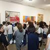Armenian Genocide art exhibition curator Vicki Hovanessian speaks to students of the Kirikian Saturday Armenian School of St. Thomas Church of Tenafly, NJ, at Gallery Bergen.