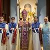 New subdeacons (l-r) Hagop Derian, Patrick Kayayan, and Jonah Doudoukjian, with Bp. Daniel and Watervliet pastor Fr. Stepanos Doudoukjian.