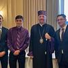 New subdeacons. Hagop Derian, Patrick Kayayan, and Jonah Doudoukjian, with Bp. Daniel.