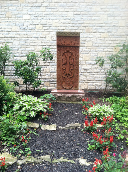 A khatchkar on the grounds of St. James Episcopal Church, where the Armenian Church of Columbus mission parish holds services.