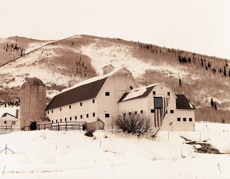 """""""Park City Barn, Sepiatone"""", Park City, Utah."""