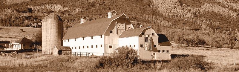 Autumn Barn Pano, Sepia