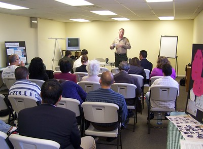 One of the public meetings and community work sessions to enable dialog and input about the Los Angeles State Historic Park's Interpretive Master Plan. A California State Parks ranger speaks to attendants.