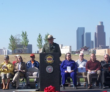 Los Angeles State Historic Park Grand Inauguration (IPU) event. Ron Schafer at the podium.  To his left Ruth Coleman, Director of California State Parks. To his right Jackie Goldberg, Ed Reyes, and Robert Rosen.