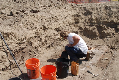 "June 25, 2009 A team of California State Parks archeologists work at a dig at the Los Angeles State Historic Park. This is the site of the Southern Pacific Railroad's River Station  ""car shop"" where new train cars were built from the ground up."