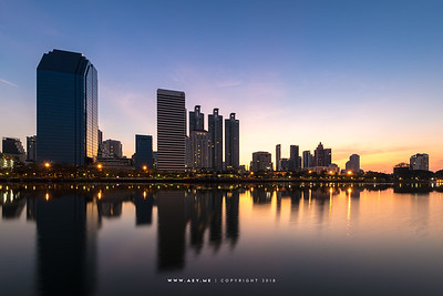 First Light of 2018 in Bangkok view from Benjakitti Park