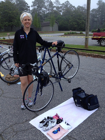 Karen befor her Duathlon at Callaway Gardens. Georgia. May 11, 2014