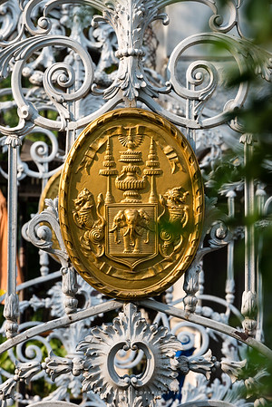 The Emblem of King Rama V at the gate of Saranrom Royal Garden