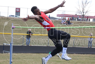A-P's Junior Bodden leaps during a high jump attempt at the Pirate Relays in Hudson last Friday. (Jake Ryder photo)
