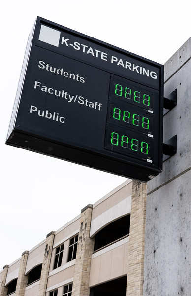 K-State parking provides more than 300 parking stalls near the residence halls and campus buildings. The parking garage is located directly across from the Berney Family Welcome Center and is connected to the Student Union. (Brooke Barrett | Collegian Media Group)