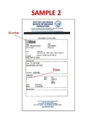 Parking Ticket Sample 2