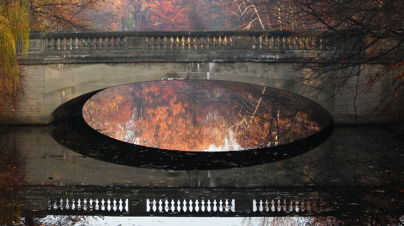 Bridge reflections, Genesee Valley Park, Rochester NY.