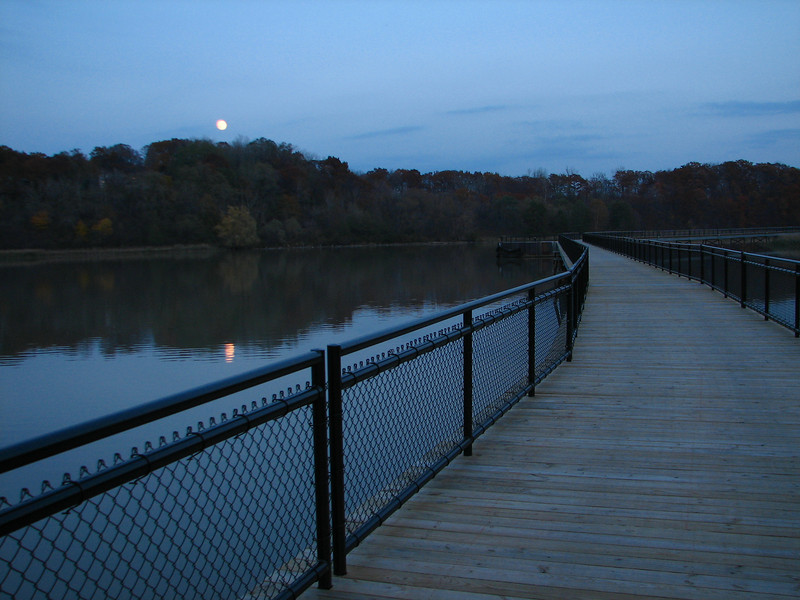 Moonrise and boardwalk, Turning Point Park, Rochester NY.