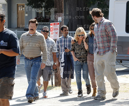 Set of Parks and Recreation with Amy Poehler,Rashida Jones,Aziz Ansari,Nick Offerman,Aubrey Plaza in Los Angeles,California.