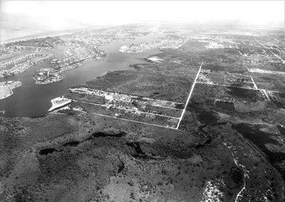 Old photo aerial Future site of Windstar dev. Beginning of Bayview park on the Gordon River June 1968 Submitted