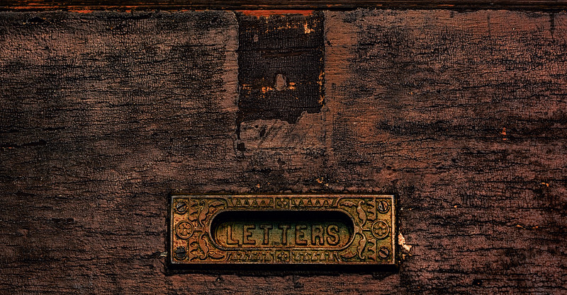 Old Door Where Letters Once Went ... not very popular anymore, but it's a wonderful door rich with character and history.  And the icing on the cake (or door :-)) -- the brass letter plate naturally coated with patina -- which gets better with age.<br /> Lebanon, Oh.
