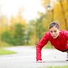 crossfit woman doing push-ups