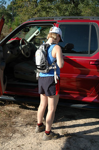 "Jo Lena gets her gear ready in a much more professional manner than yours truly. Her hydration pack is a Camelbak ""Magic."" The Magic is the ""sister"" version of my ""Lobo."""