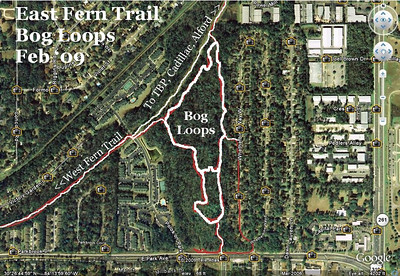 This gallery's trail photos: Start at Park and Richview entrance (bottom), head right, ride through Ankle Breaker, continue north parallel with Whetherbine Way till you arrive at East Fern Trail. Hang a left, pass the log ride, continue to the new Polos Bridge. Turn left before that bridge, head south, take a right at the middle connector, in another ~300m you'll ride through the creek back to the south end of the loop. Photos then begin at east end of ~100m middle connecter, end at west end of connector. Loop distance, excluding entrances, exits, and the middle connector, is 1710m/1.06M. The south connector from Park is 170m long.