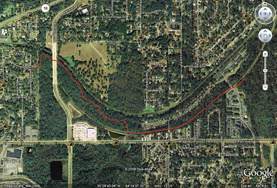 West Fern Trail, from this GPS track, fed into Google Earth. West access (left) at Inglewood and Redwood, east terminus at East Fern Trail's Bog Loop adjacent to the Polos Bridge.
