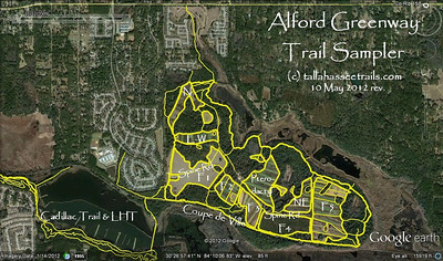 Updated 10 May 2012, this is a look at nearly all Alford (and area) trails. Abbreviated field names are shown.