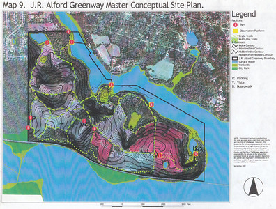 J. R. Alford September 2002 DRAFT Management Plan Map 9: J. R. Alford Greenway Master Conceptual Site Plan - ten years later, depicted signs, boardwalks, and observation platforms have never existed.