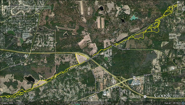 Most of the Miccosukee Greenway trails and field perimeters, a portion of this 24 May 2007 GPS'd Pugsley ride. Track modded with Google Earth and GPSVisualizer.