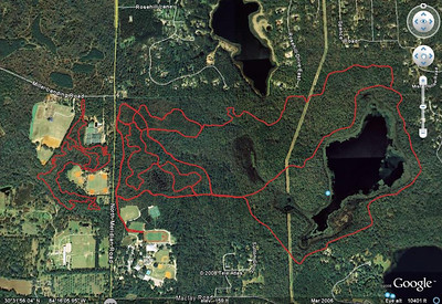 Red Bug Trail (left, west side of N. Meridian Rd.), and Maclay Gardens SP/Blair Witch/Cambodia/Overstreet Trails (right, east side of Meridian).
