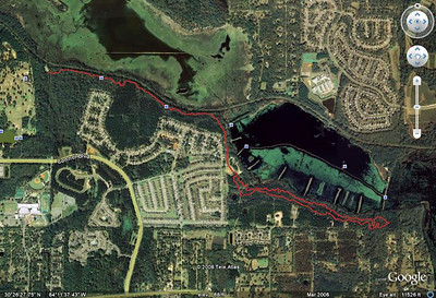 From this GPS track, loaded into Google Earth, then saved as a jpg. For this reverse track, you'd start near the middle, do the East Cadillac loop lowside (nearest Piney Z Lake) first aka clockwise, then head northwest back toward Tom Brown Park (upper left). That's trail markers #79C to #1C.