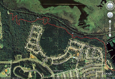 The Tub (boomerang shaped segment, top center) in relation to the west section of Lafayette Heritage (multiuse) Trail. NOTE: Cadillac Trail not depicted. See other map.