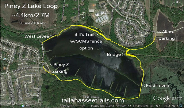 Assemble GPS tracks: 1) Lake Piney Z Loop 2) LHT bridge S-N 3) Alford parking lot to LHT bridge 4) Bill's Trail 5) Bill's Trail SCMS fence option Edit kml or gpx files with GPSVisualizer. Load resulting kml files into Google Earth. Save result as jpg, add some captions, upload for sharing.