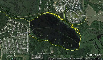 Raw map showing revised RR crossing (no more 100y along the tracks), trail toward Tom Brown Park, trail from east end of Bill's Trail to Pedrick, and original trail SE of boardwalk.