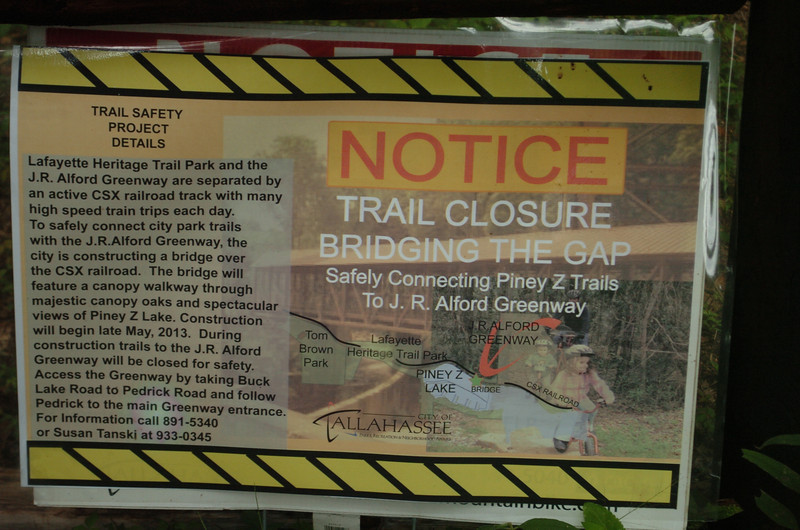 23 June 2013: Signs are posted at many access points announcing trail closures during bridge construction.