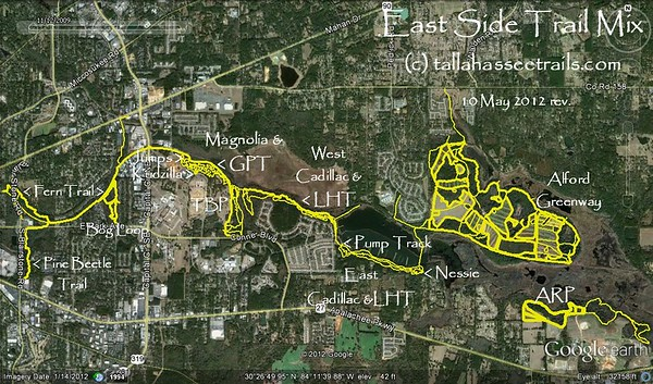 From one of the Alford Greenway galleries: http://www.tallahasseetrails.com/Parks-and-Trails/J-R-Alford-Greenway/Alford-Greenway-Park-CCW-Tour/ Shows most if not all east side trails about 1 year before Bill's Trail construction began. Note how we need to get connected to ARP, bottom right.
