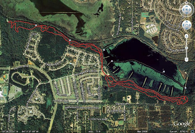 All Cadillac and Lafayette Heritage area trails, Nov 2008. An assemblage of GPS tracks takenbetween Tom Brown Park (off the map upper left) and Alford Greenway Park (off the map, upper right). Actually, till you're in Alford, the trails are still part of this City-managed park. That includes the East Levee (right center, not GPS'd).