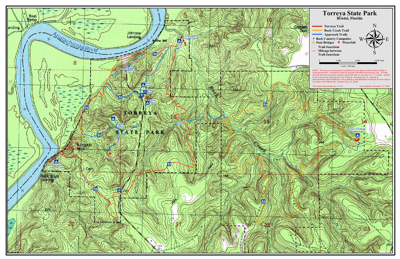 "Topo map jpg-ed from: https://www.floridastateparks.org/sites/default/files/Division%20of%20Recreation%20and%20Parks/documents/Topo%20Trail%20Map%20Torreya_111705.pdf If that link fails, try Googling ""torreya state park contour map pdf"""