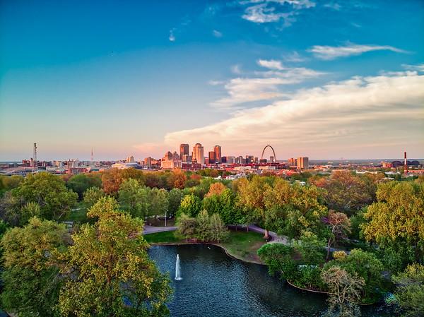 Downtown Saint Louis from Lafayette Park