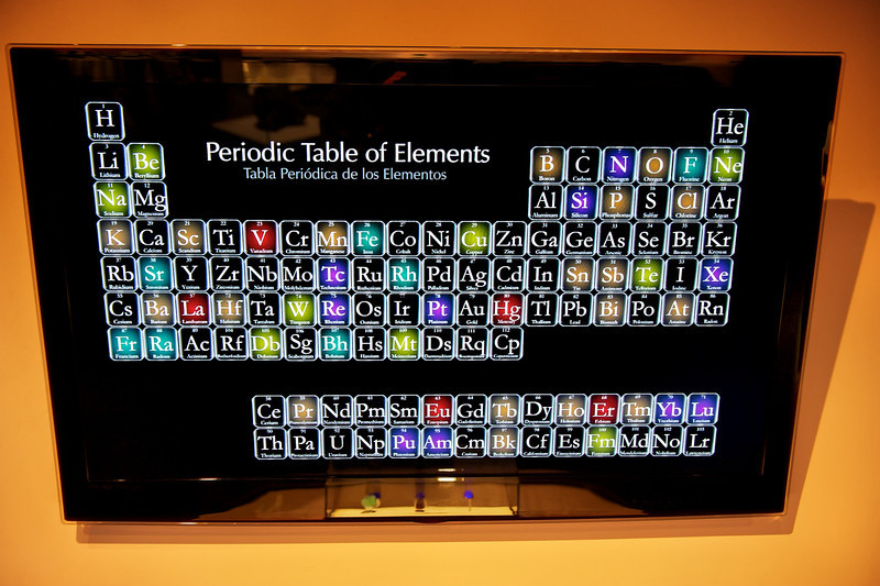 """Periodic Table of Elements<br /> Natural History Museum in Balboa Park, San Diego Featuring """"ALL THAT GLITTERS"""" - The Splendor & Science of Gems & Minerals.<br /> Exhibition Highlights:<br /> <a href=""""http://www.sdnhm.org/archive/exhibits/allthatglitters/highlights.php"""">http://www.sdnhm.org/archive/exhibits/allthatglitters/highlights.php</a><br /> ***Photos taken without flash through glass/plexiglass"""
