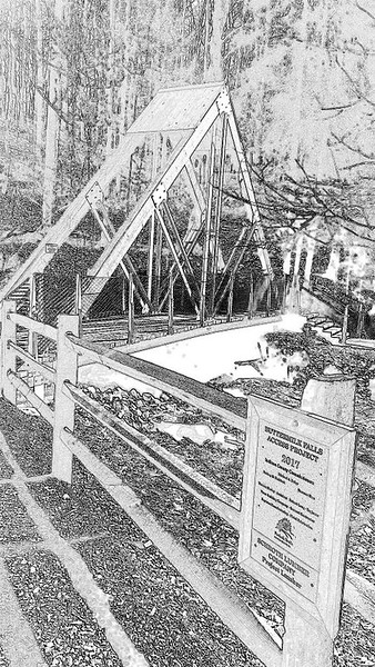 Buttermilk Falls - Eclipse Bridge Pencil Sketch
