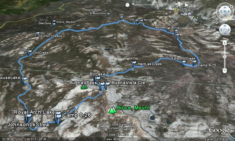 Google Earth Track of the Hike