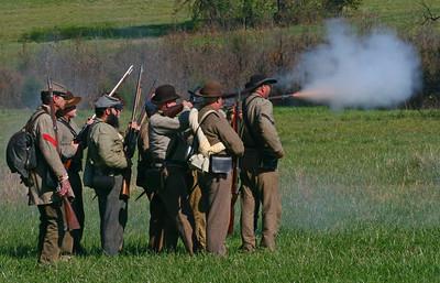 Reenactment of Civil War Soldiers on the Battlefield, taken by P. Saavedra