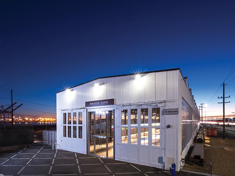 Bridge Yard Building at twilight