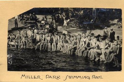 Large Group of Swimmers at Miller Park Swimming Pool (01582)