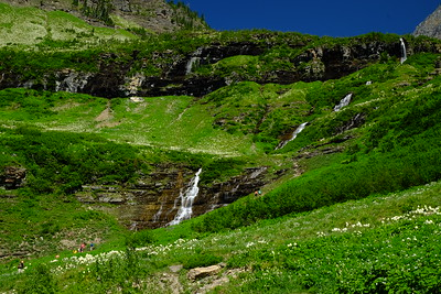 Haystack Creek  waterfall with an aboundance of bear grass in the fields